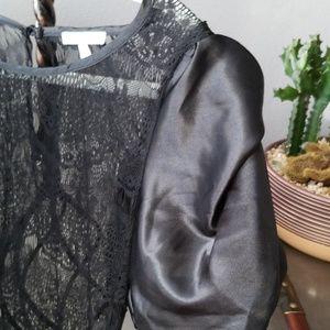 Charlotte Russe Tops - Black satin sleeved tops